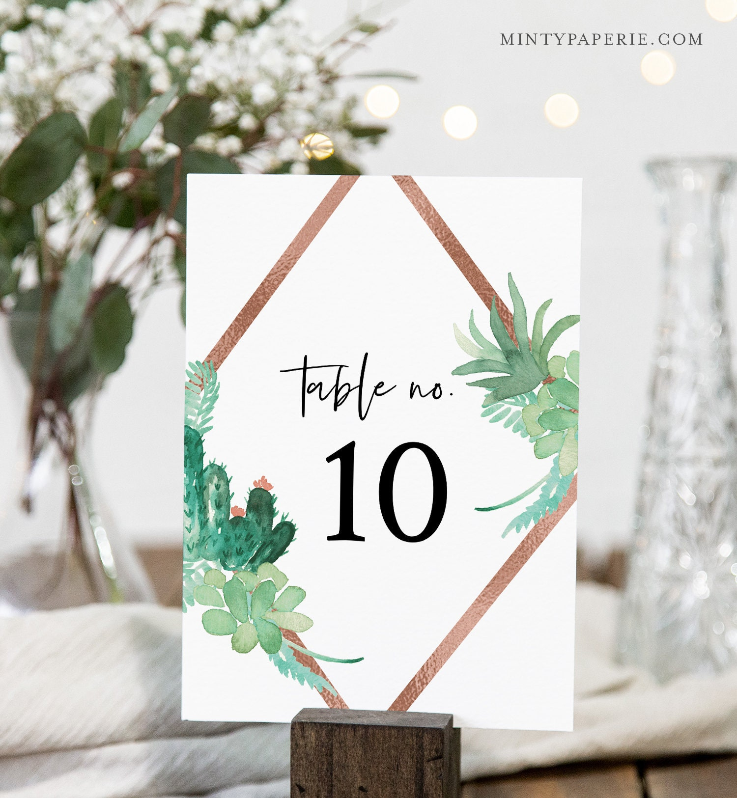 Succulent Table Number Card Template Cactus Rose Gold Wedding Table Number 100 Editable Text Instant Download Templett 086 151tc