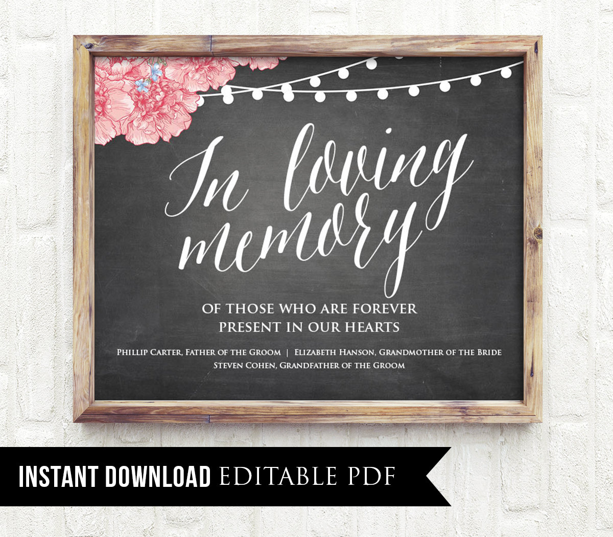 50% Off, Editable Wedding Sign, In Loving Memory, Printable ...