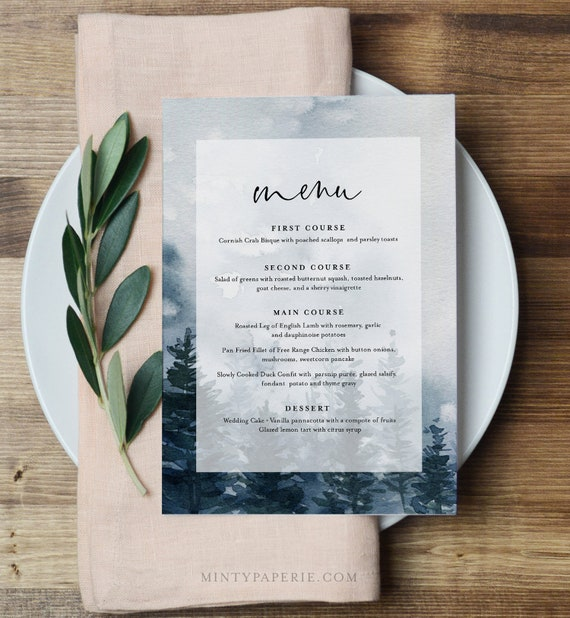 Winter Menu Template, Rustic Evergreen Wedding Menu Card, Printable Pine Tree Menu, INSTANT DOWNLOAD, Editable Text, Templett #070-164WM