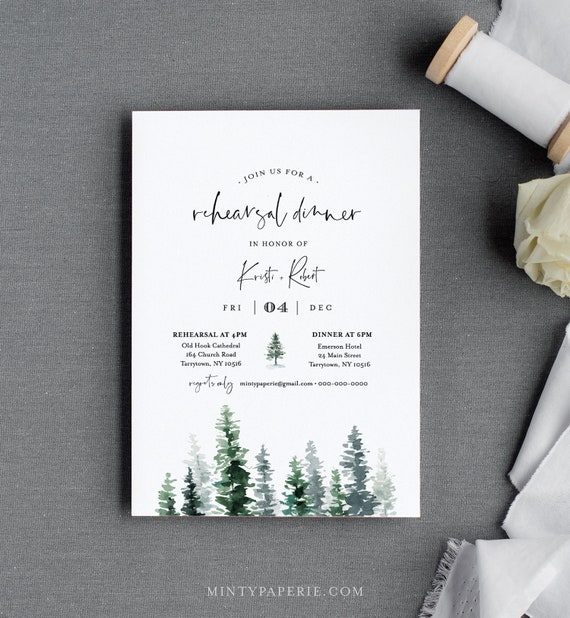 Rustic Rehearsal Dinner Invitation Template, Pine Tree Evergreen Wedding Rehearsal Invite, Editable Text, Instant Download, DIY #073-140RD