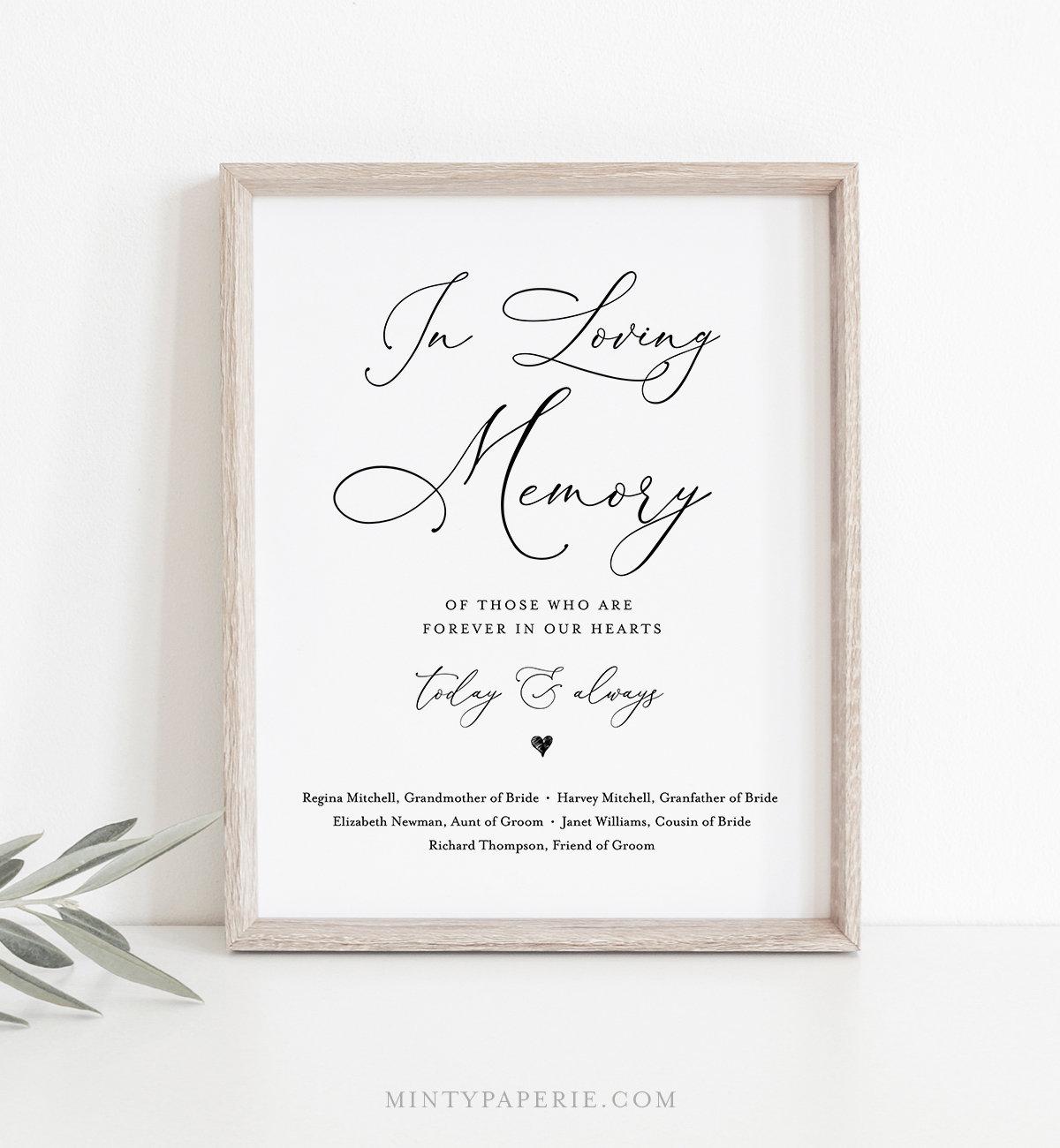 In Loving Memory Sign Instant Download 100 Editable Printable