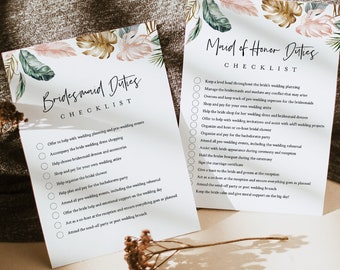 Bridesmaid Duties Checklist, Maid of Honor Duties, Bridal Party Info Card, Tropical, Editable Text, Instant Download, Templett #087-101BDC