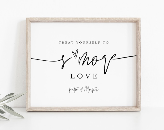 S'mores Favor Sign, S'mores Treat Bag Sign, S'more Love, Minimalist Wedding, 100% Editable Template, Instant Download, Templett  #0009-30S