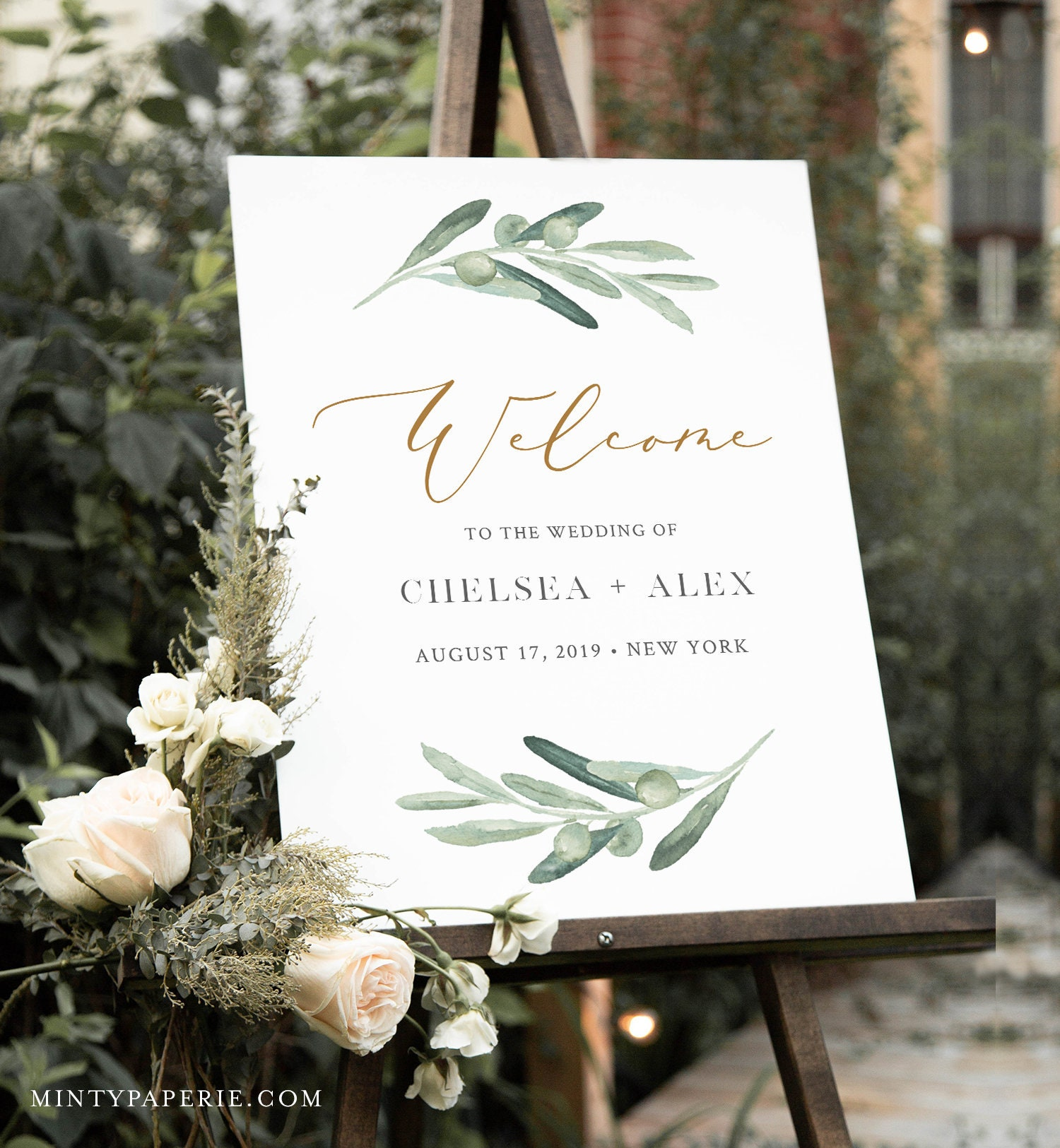 picture regarding Welcome Sign Template referred to as Olive Greenery Welcome Indication Template, Marriage or Bridal
