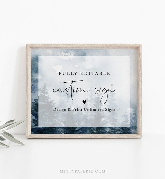Winter Custom Sign Template, Evergreen Pine Tree Wedding or Bridal Shower Table Sign, Create Any Sign, INSTANT DOWNLOAD, Templett #070-147CS