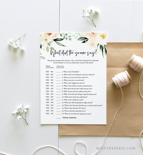 What Did the Groom Say Bridal Shower Game Template, INSTANT DOWNLOAD, Printable Wedding Game, Editable, Personalize Questions #076-178BG