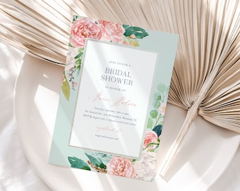 Mint & Blush Bridal Shower Invitation Template, Printable Vintage Boho Floral Wedding Shower Invite, Editable, INSTANT DOWNLOAD #069-190BS