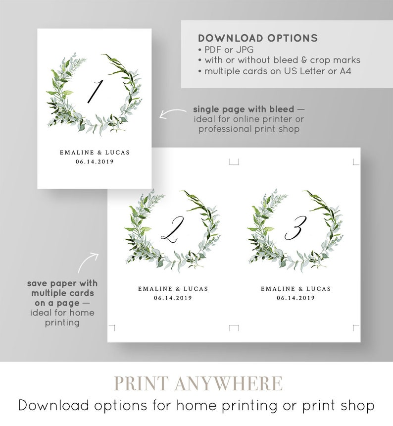 Table Number Card Template Printable Wedding Table Cards Boho Wedding INSTANT DOWNLOAD Editable Flat /& Tent #016-110TC Greenery Wreath