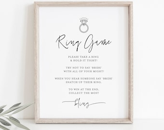 Ring Game, Minimalist Bridal Shower Game, Don't Say Bride Game, Printable, Editable Template, Instant Download, Templett #0009-387BG