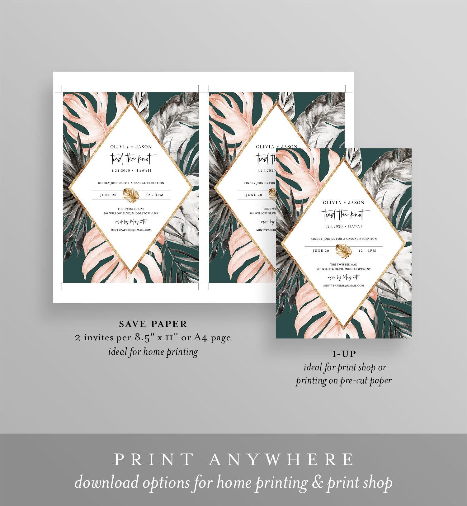 Reception After Destination Wedding Invitation: Elopement Invitation Template, Tropical Destination