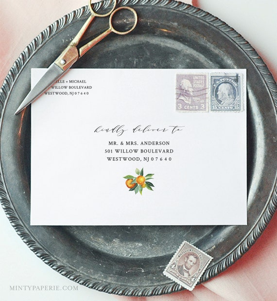 Orange Envelope Template, Citrus Greenery Wedding Address Printable, Instant Download, Editable Text, Templett, A1, A7 Sizes #084-128EN
