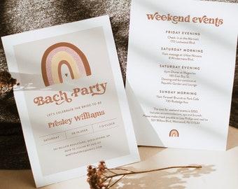 Boho Bachelorette Party Invitation + Itinerary, Bohemian Rainbow, Earth Tones, Editable Template, Instant Download, Templett #025A-149BP