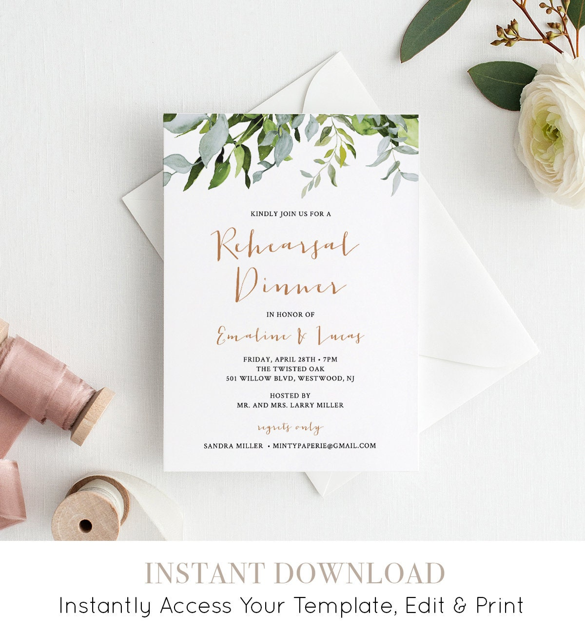 INSTANT DOWNLOAD Rehearsal Dinner Invitation Template