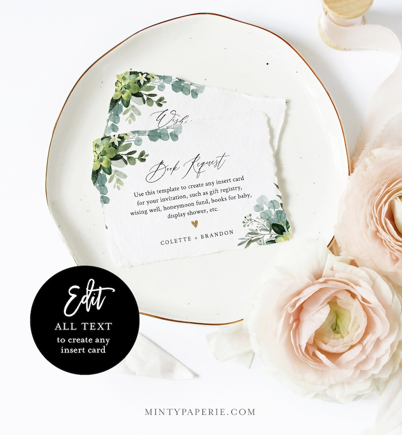Book Request Editable Text #082-136EC Bridal or Baby Shower Details Create Any Insert Card for Wedding Greenery Enclosure Card Template