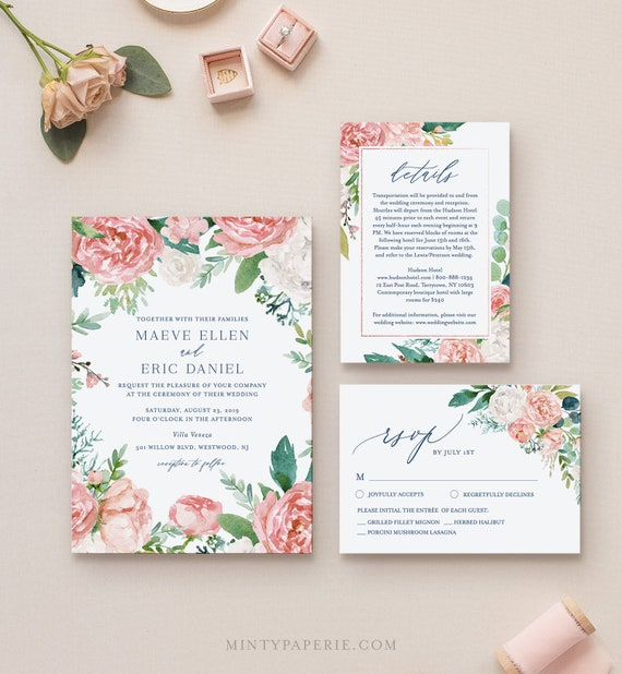 Editable Wedding Invitation Set Template, Watercolor Floral and Greenery Invite, RSVP & Details, INSTANT DOWNLOAD, Printable, Templett #069A
