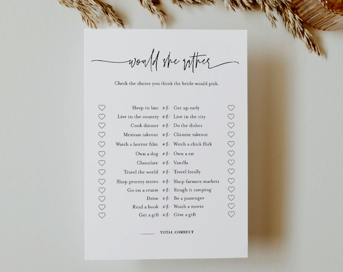 Would She Rather Bridal Shower Game Template, Minimalist Bridal Shower Printable, Editable Template, Instant Download, Templett #0009-357BG
