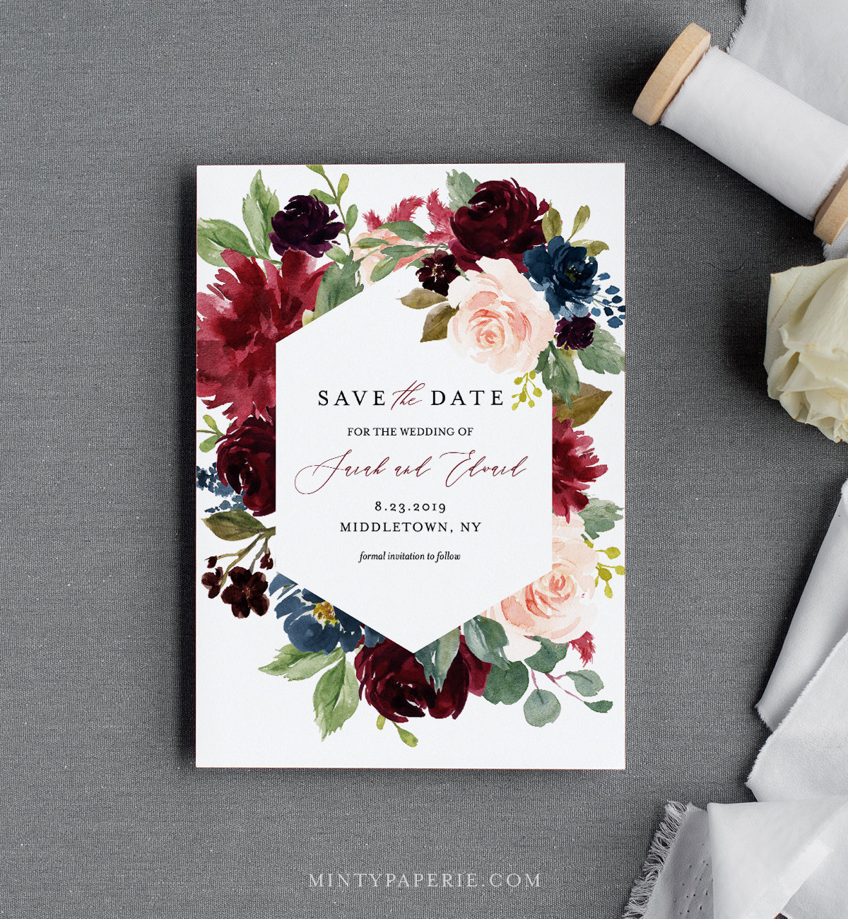 picture regarding Printable Save the Date Templates called Printable Help save the Day Template, Merlot and Blush Florals