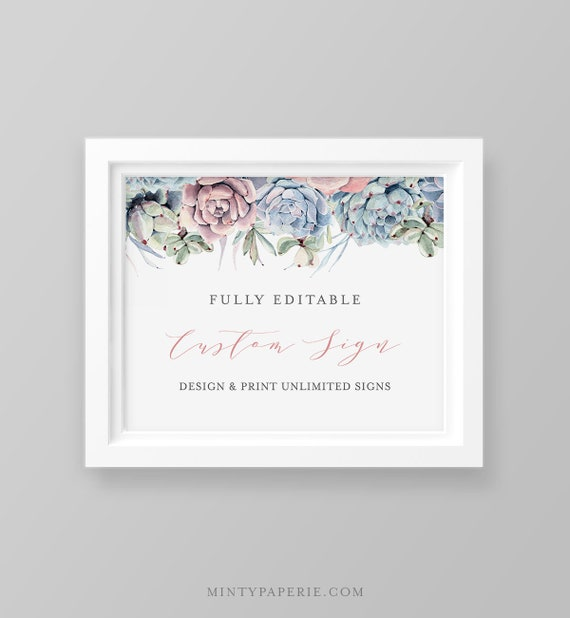 Succulent Wedding Sign Template, INSTANT DOWNLOAD, Self-Editing Template, Create Unlimited Signs, Printable, Cactus, 5x7 & 8x10 #041-115CS