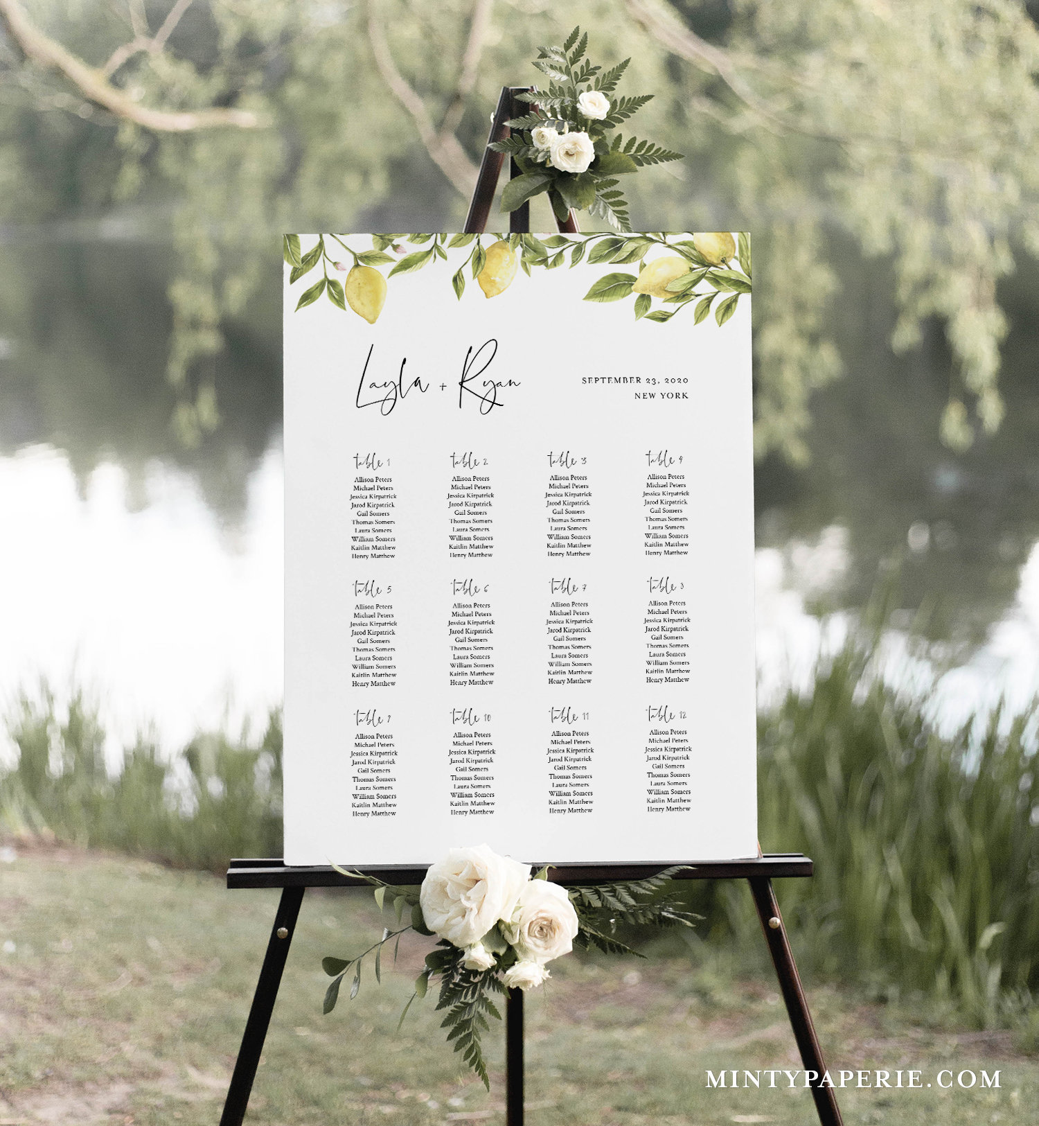 TRY BEFORE You BUY Seating Chart Sign Template White Floral Cards Editable Instant Download