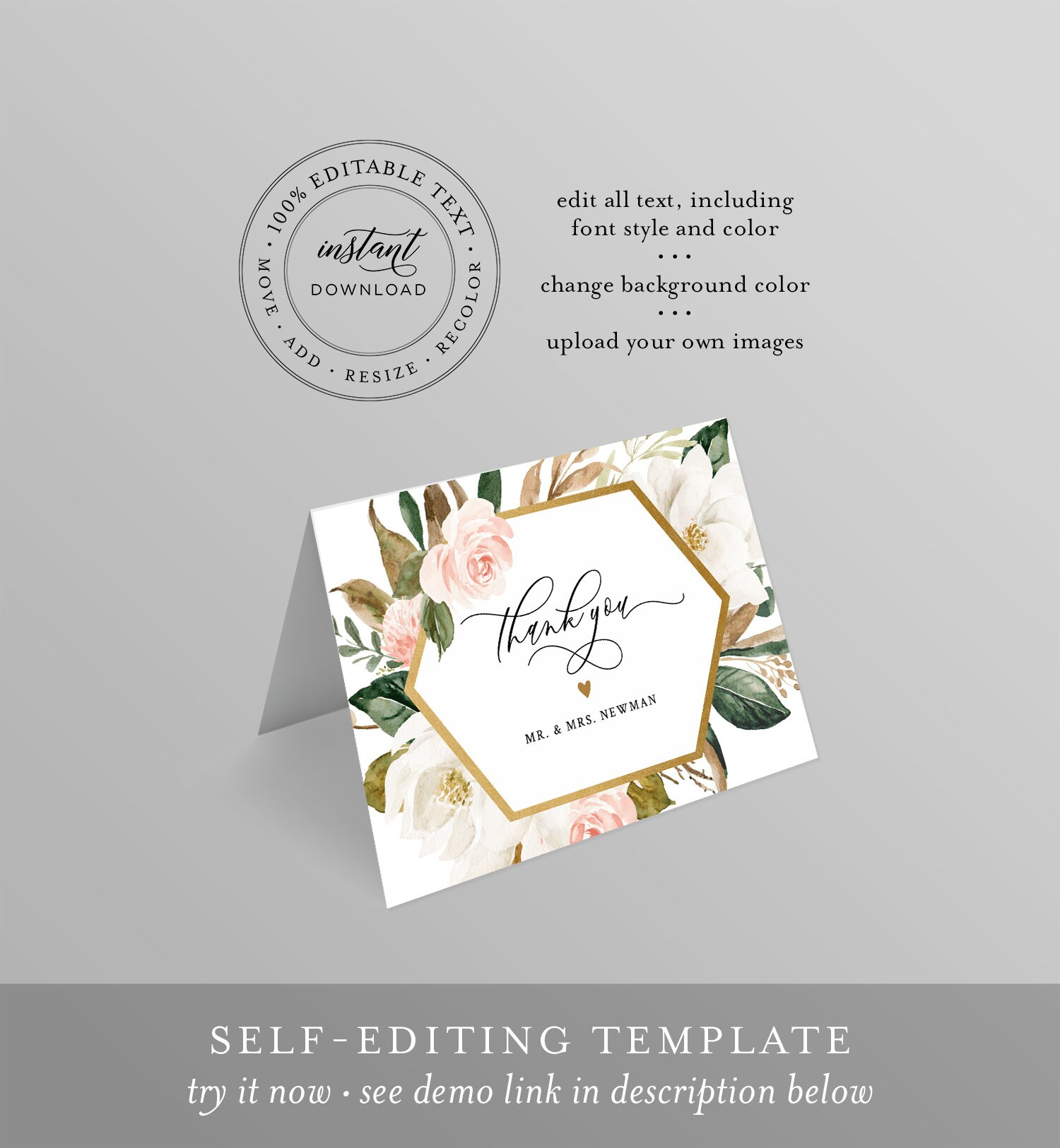thank you note card template printable magnolia