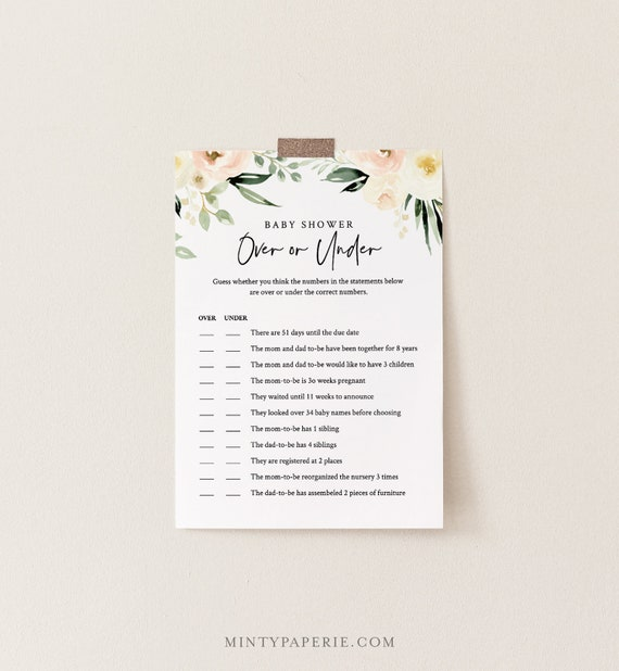 Over or Under Baby Shower Game, 100% Editable Text, Printable Baby Shower, Peach Floral & Greenery, Instant Download, Templett  #076-142BG