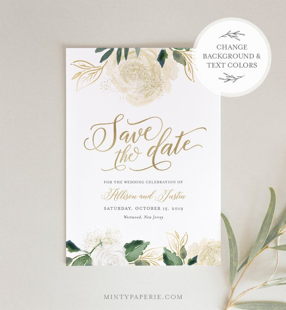 Cream Floral Save the Date Template, Printable Vintage Wedding Date Card, Instant Download, 100% Editable Text, Templett, DIY #064-136SD