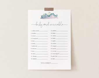 Baby Word Scramble Game, Printable Baby Word Puzzle, Pine & Mountain Baby Shower Game, Editable Template, INSTANT DOWNLOAD #063-127BASG