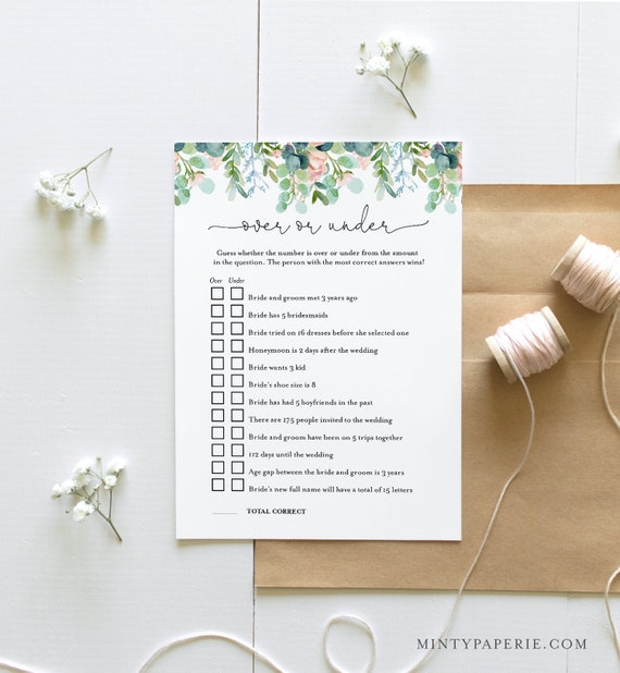 Over or Under Bridal Shower Game, Printable Garden Bridal Shower Game, Editable Template, Instant Download, Templett, DIY, 5x7 #068A-290BG