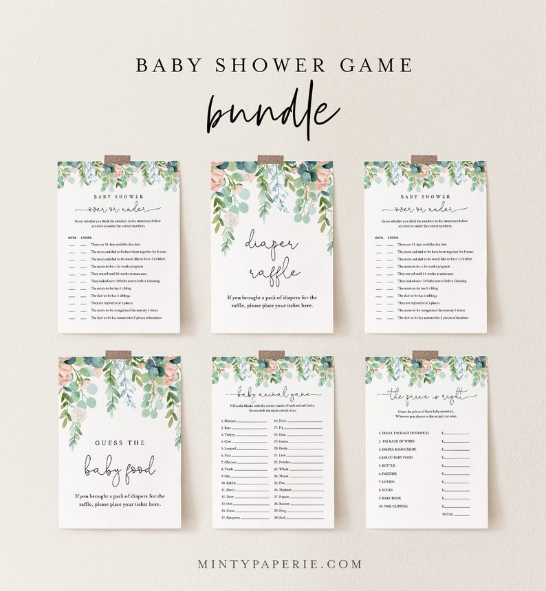 Baby Shower Game Bundle Personalize Questions 11 Editable image 0