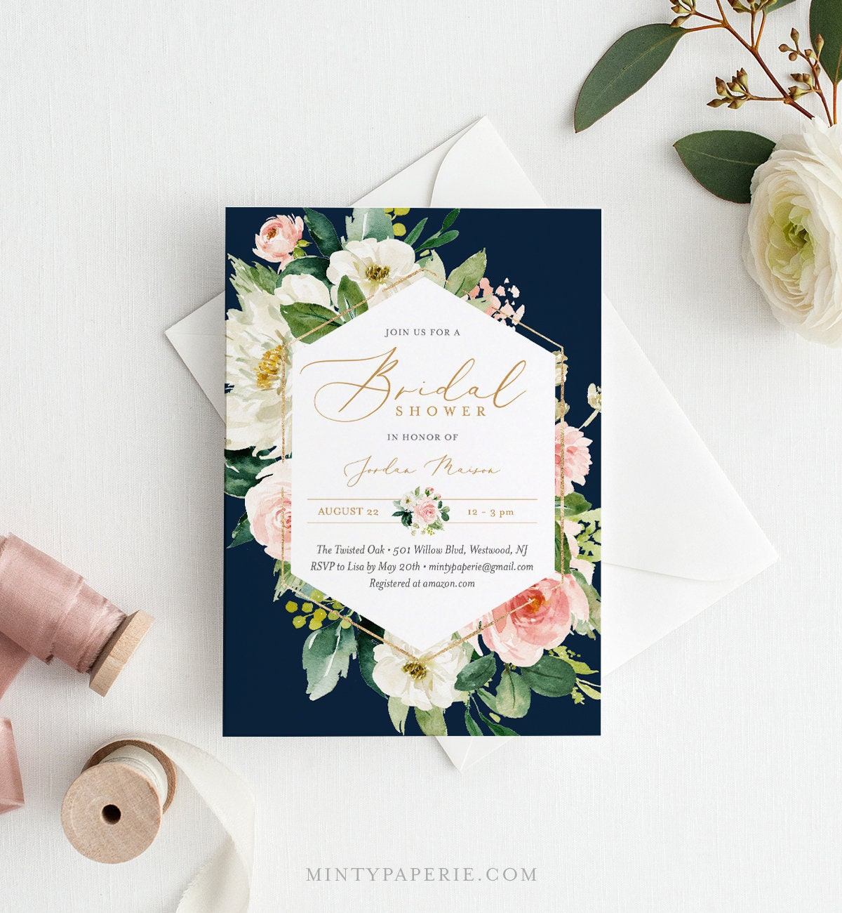 self editing bridal shower invitation template instant download printable wedding shower invite boho floral navy templett 043 145bs