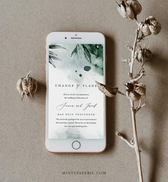 Change of Wedding Date, Postponed Wedding Date, Digital Announcement, Emerald Watercolor, Editable, Instant Download, Templett #0002-110PA