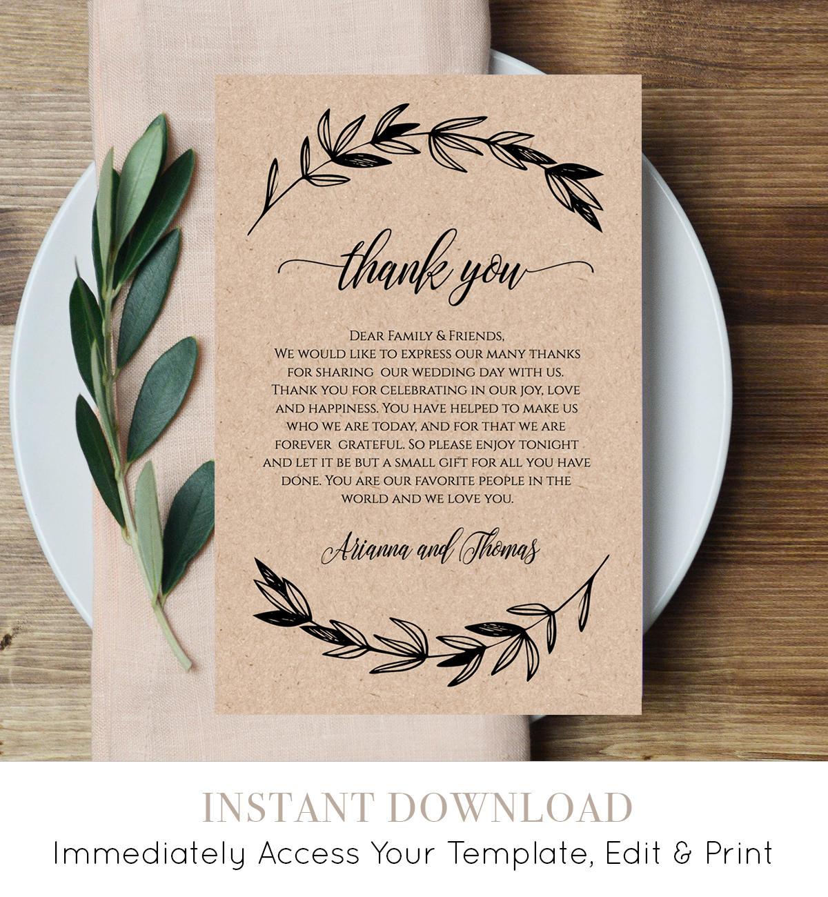 Printable Wedding Thank You Letter, Reception Thank You
