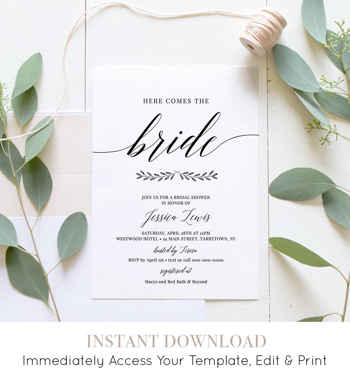 bridal shower invitation printable wedding shower invite template instant download 100 editable simple modern diy templett 034 121bs