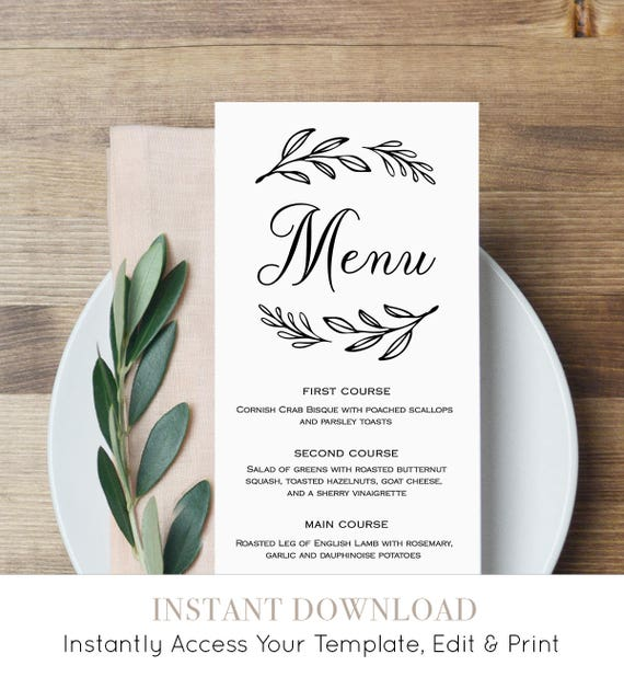 Menu Card Template, Printable Wedding Menu, Dinner Menu, Editable Template, Instant Download, Rustic Wedding, Laurels Wreath #027-117WM