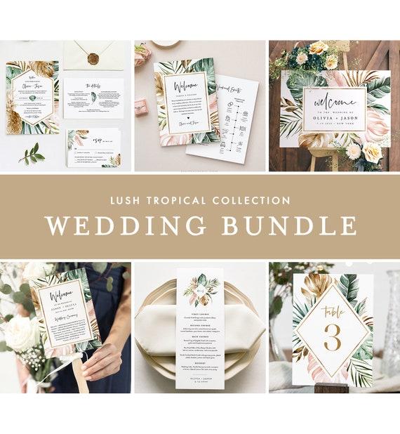 Tropical Wedding Bundle, Beach Wedding Essential Templates, Invitation Suite, 100% Editable Text, Instant Download, Templett #087-BUNDLE