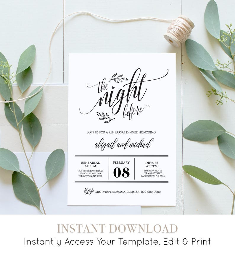 Wedding Rehearsal Dinner Printable DIY Invitation Template Night Before Instant Download Fully Editable Digital 020 107RD