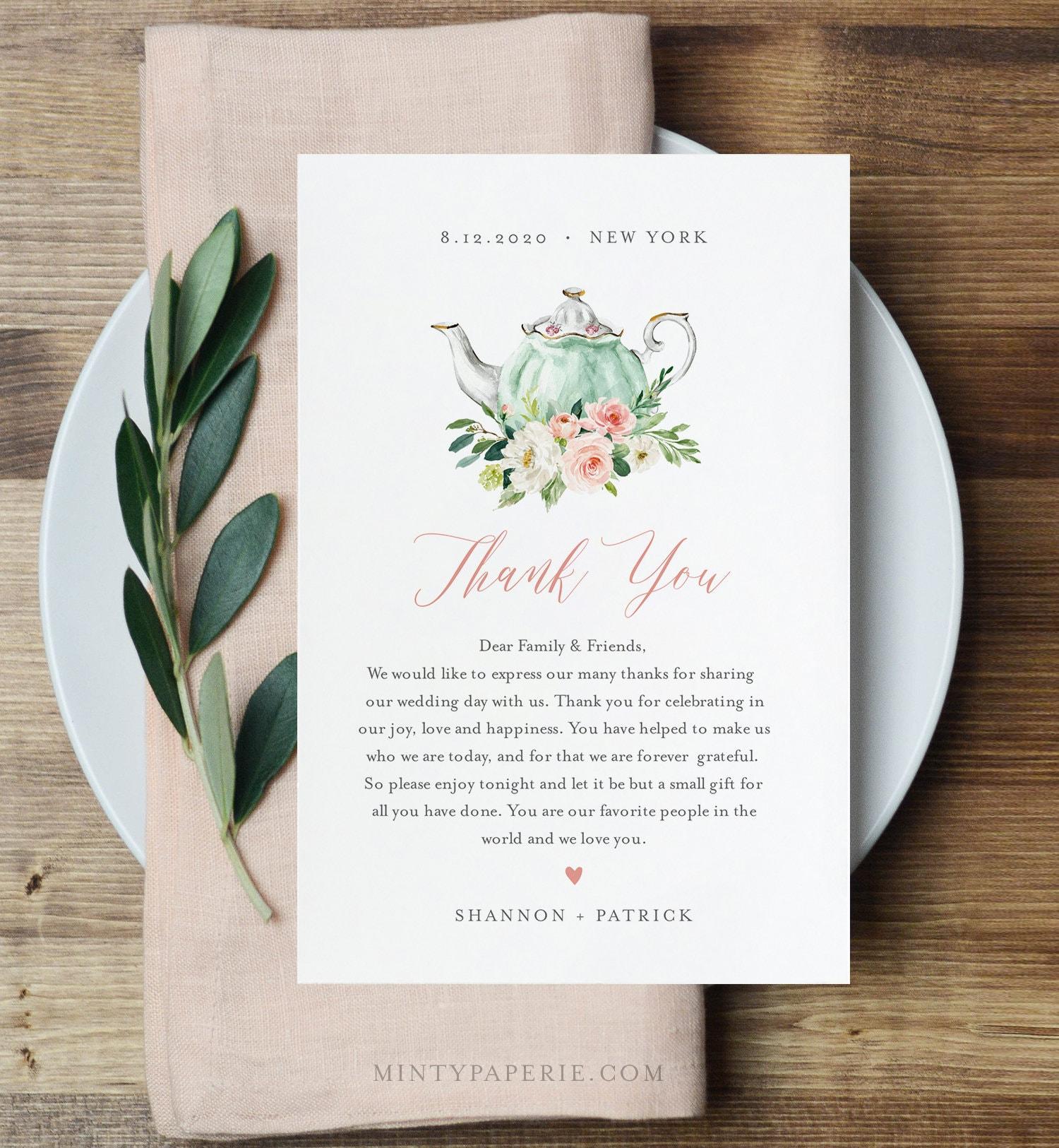 Tea Party Thank You Letter, Napkin Note, Printable Wedding Menu Thank You, Editable Template