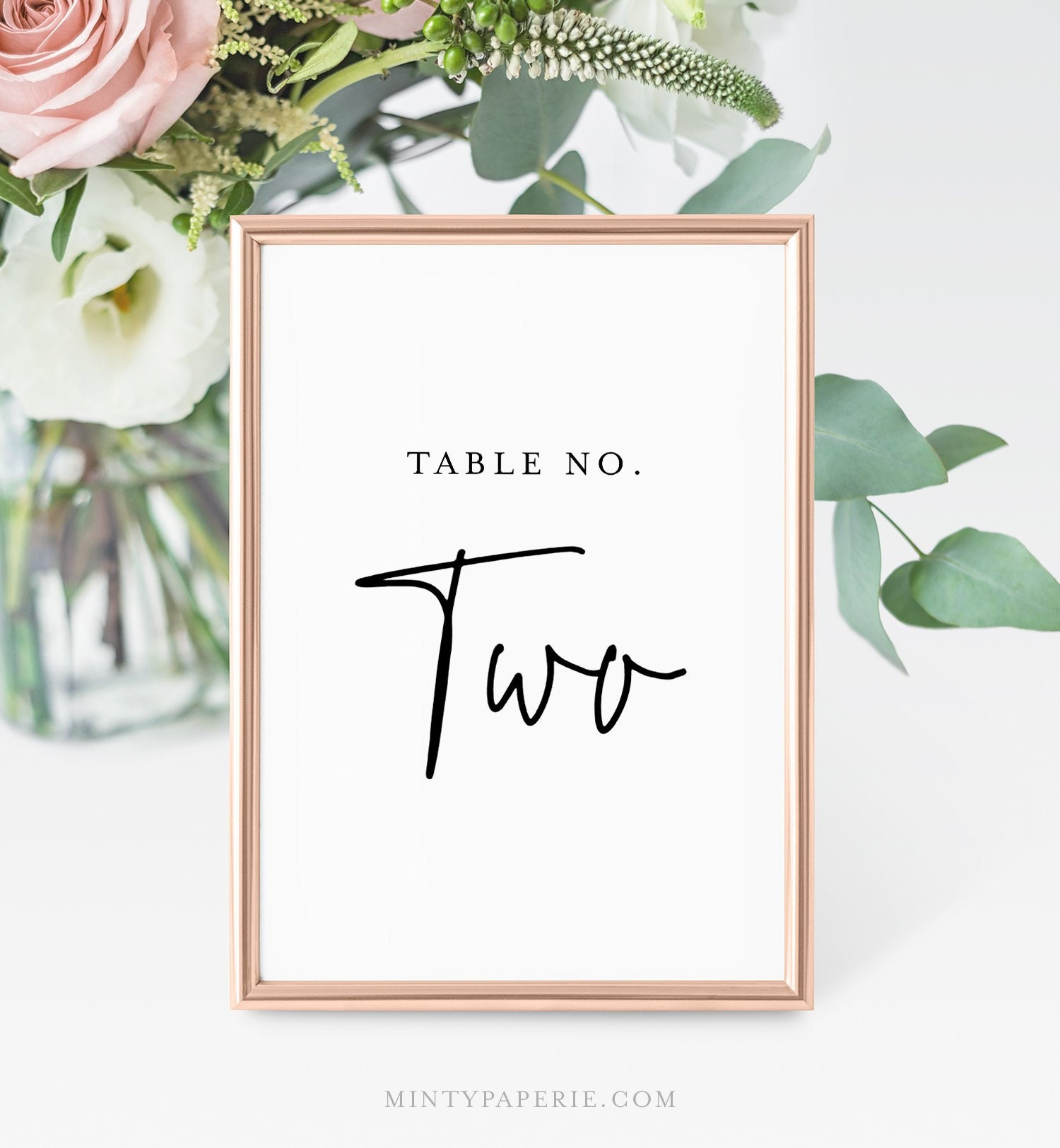 Five Sizes Simple Table Number Card INSTANT DOWNLOAD Minimalist Table Number Template Printable Table Number Edit /& Print #020-605TN