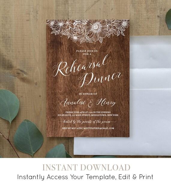 Rehearsal Dinner Printable, Rustic Wood Wedding Rehearsal Invitation Template, INSTANT DOWNLOAD, Fully Editable, Digital, DIY #025-109RD