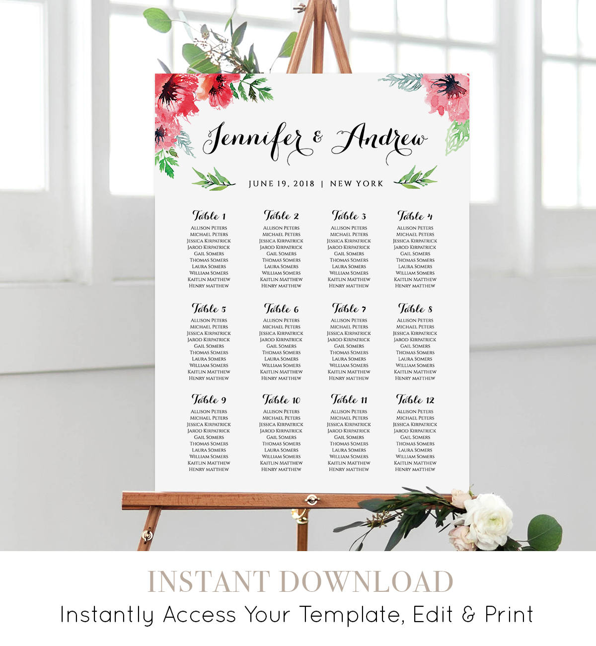 wedding seating chart editable seating plan instant download diy floral watercolor wedding printable fully editable template nc 207sc