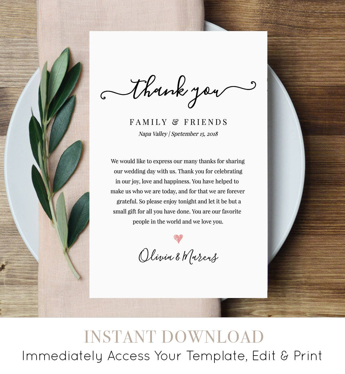 Wedding Thank You Letter Thank You Note Printable Wedding In Lieu