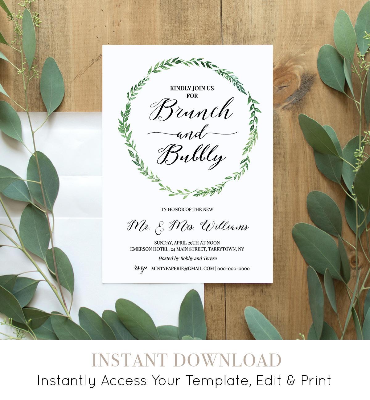 Brunch & Bubbly Invitation Template, Printable Post Wedding Brunch ...