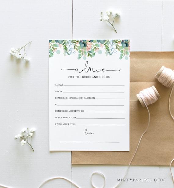 Bridal Shower Advice Card Template, Printable Garden Wedding Advice for the Bride & Groom, Editable, Instant Download Templett #068A-298BG