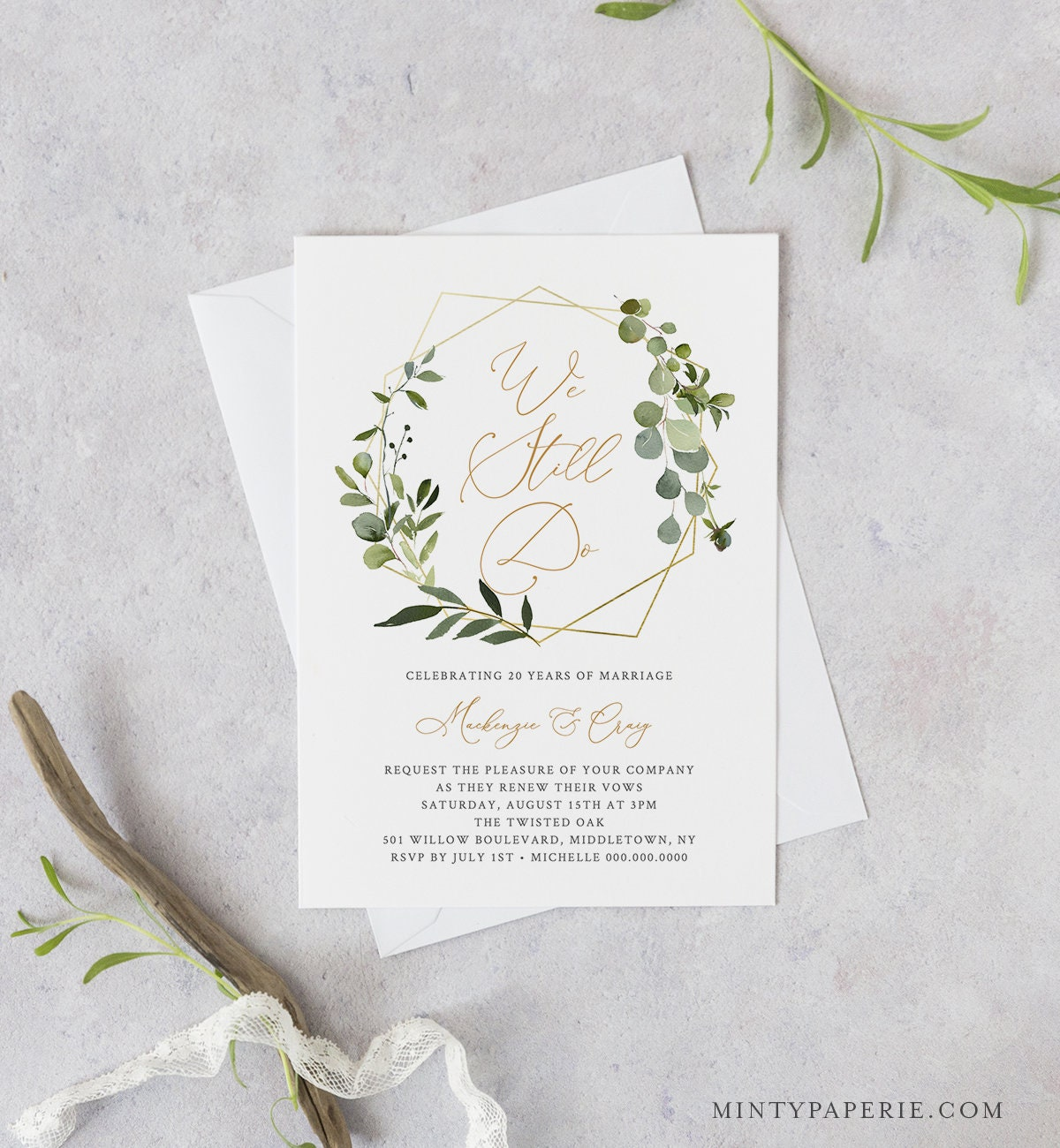 Greenery Vow Renewal Invitation Template INSTANT DOWNLOAD