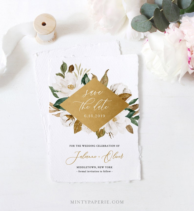 Magnolia 4x6 Templett Southern Wedding Date Instant Download 100/% Editable Text Cotton /& Gold Save the Date Template 5x7 #015-144SD