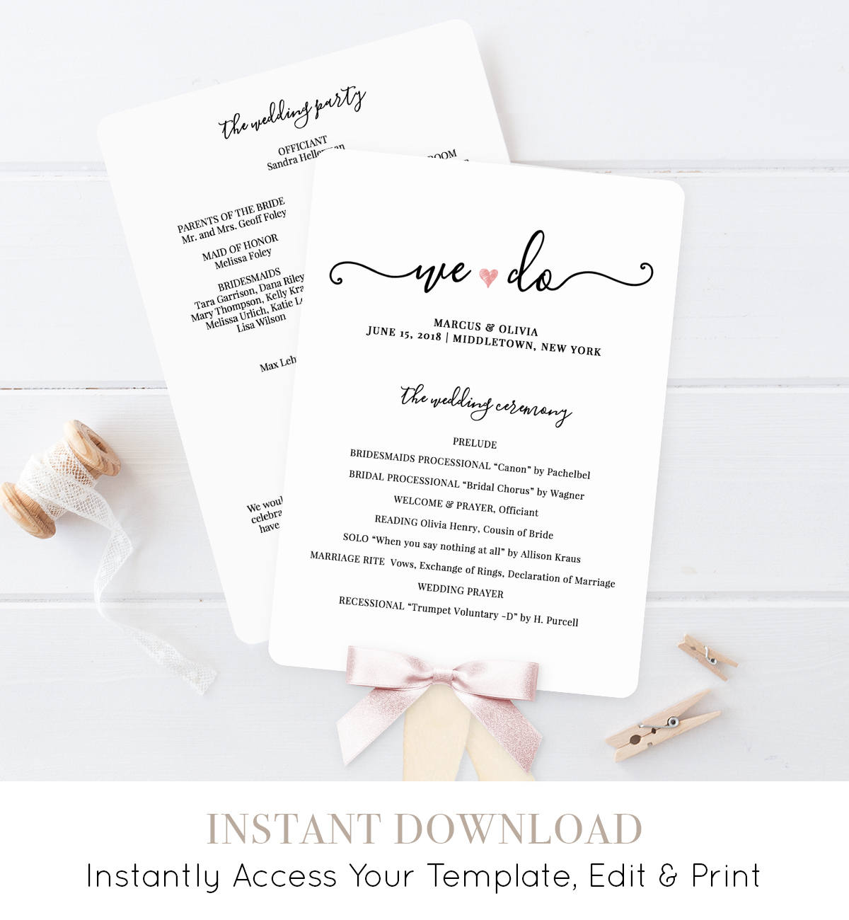 wedding program printable wedding program template printable