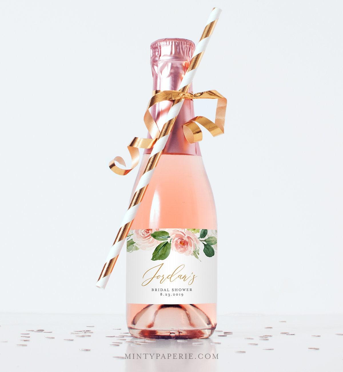 Mini Champagne Bottle Template Wine Label Wedding Bridal Shower - Mini champagne bottle labels template
