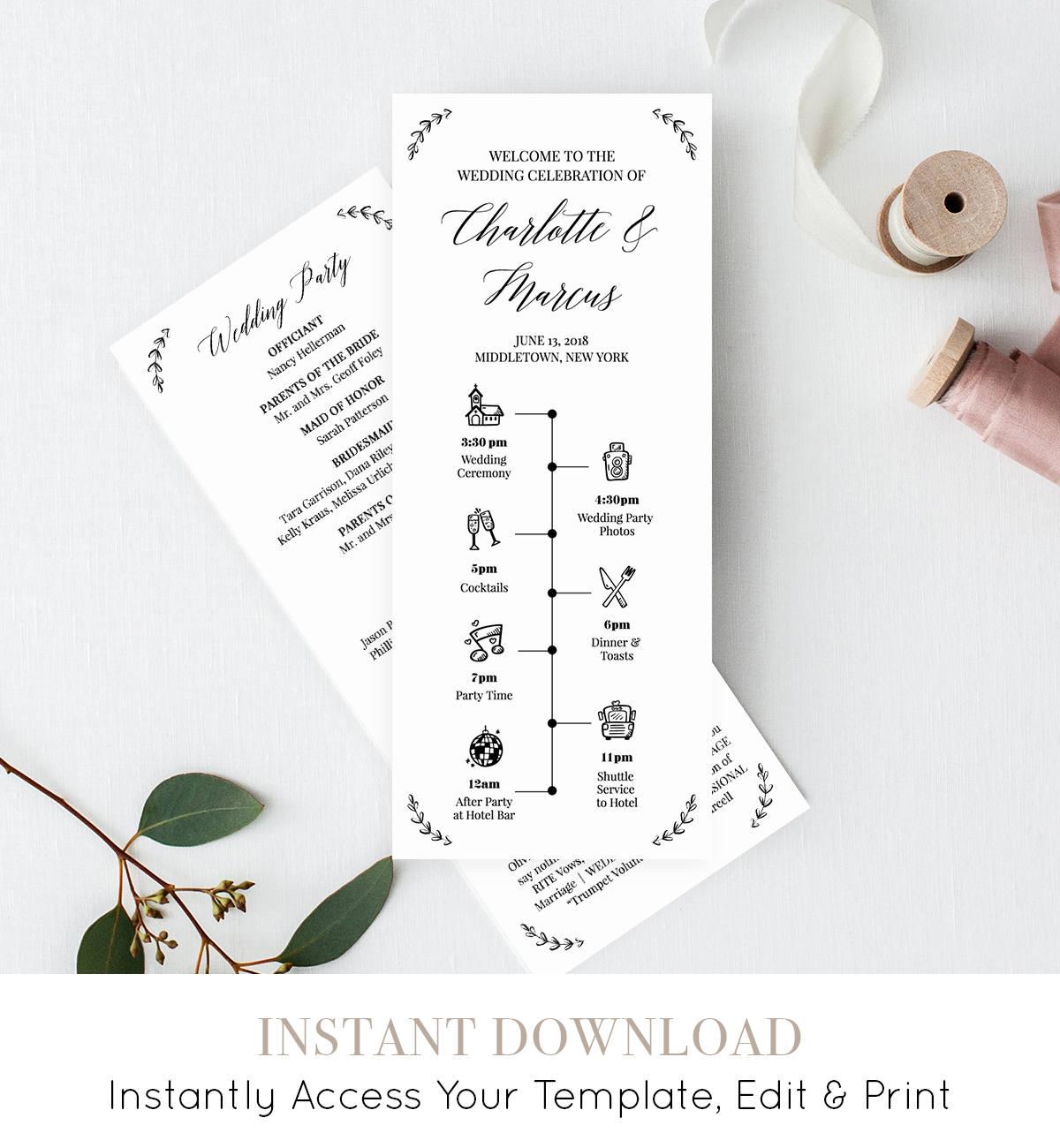 wedding timeline program template order of events ceremony program