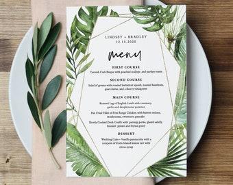 Tropical Menu Template, Palm Greenery and Gold Wedding Menu Card, Printable DIY Dinner Menu, INSTANT DOWNLOAD, Editable, 5x7 #083-145WM