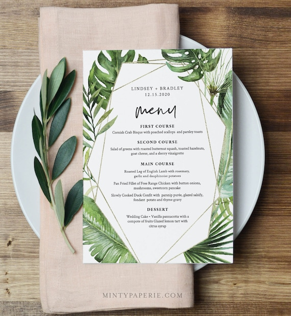 Tropical Menu Template, Palm Greenery and Gold Wedding Menu Card, Printable DIY Dinner Menu, INSTANT DOWNLOAD, Editable, 5x7 #083-145WM